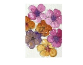 An Original watercolour painting colourful flowers in pink yellow and purples, this is a lovely cheerful artist card.