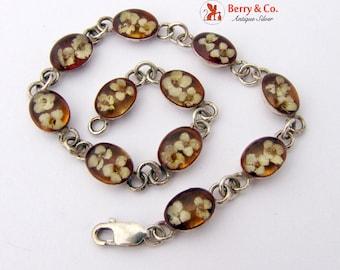 Beautiful Bracelet Floral Amber Links in Sterling Silver