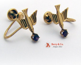Vintage Swallow Bird Earrings Screwback 10 K Gold Amethyst