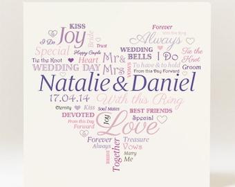 Personalised Heart Wedding  Card