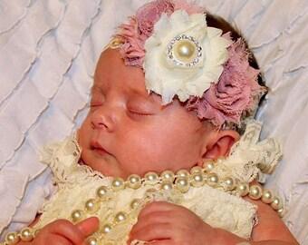 Ivory Headband/Dusty Rose Headband/Shabby Chic Headband/Infant Headband/Baby Headband/Newborn Headband/Toddler Headband/Girls Headband