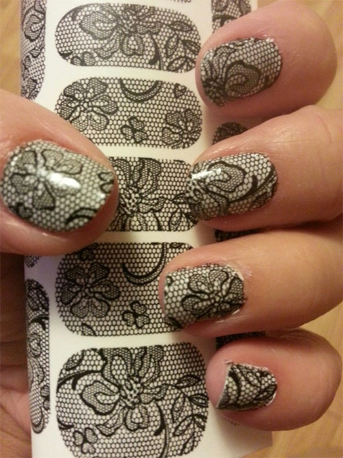 Lace nail art blf full nail wraps long and short nails description black lace nail art decals full prinsesfo Gallery