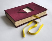 burgundy guest book with photo window, marsala velvet guestbook, wedding album, polaroid guest book, wedding guest book, bridal shower,album