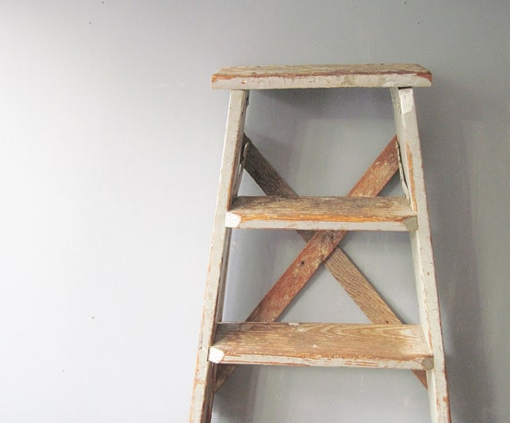 Small Wooden Two Step Folding Ladder Chippy Gray Step