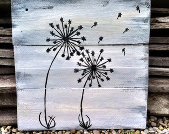 Dandelion Decor Black and White Sign Pallet Dandelion Sign