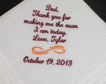 FATHER Of The GROOM Handkerchief - From GROOM - Dad - FoG - Wedding - Hanky - Hankie - Hankerchief - Man I Am Today