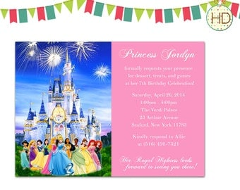 Disney Prince and Princess Invitation, Disney Castle Birthday Party, Princess Invitation, Princess Birthday Party, Co-Ed Princess Party