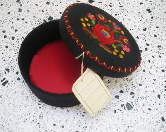Original 60's folk embroidery black felt circular box