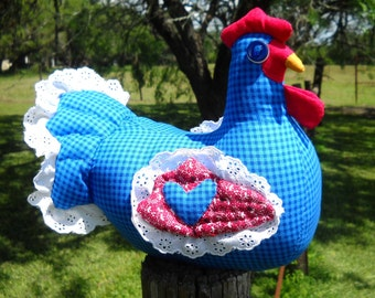 Blue gingham chicken doll doorstop made to order, red wings, blue heart, quilted wings & tail, gem eyes, white eyelet ruffle