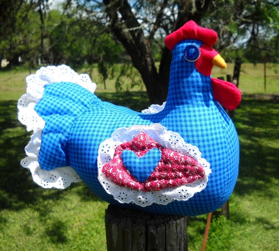 Blue gingham chicken doll doorstop