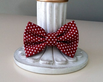 Dog Bow Tie Tiny- Maroon with White Dots