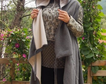 Sleeveless Long  Cardigan with Hood  Double sided Vest & Nara DE004