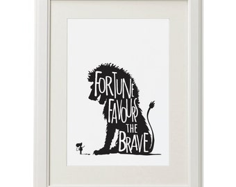 Fortune Favours The Brave 1 - Lion & Mouse Silhouette digital print. A4