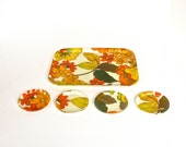 Mid Century Fiberglass Tray + Coasters - Orange Green Yellow Flowers - Mid Mod Serveware Partyware