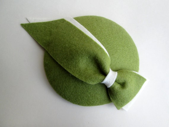 Green Felt Hat - Green Cocktail Hat, Green Hat, Wedding Hat, Felt ...