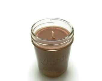 8 Oz, Half Pint Mason Jar Soy Candle - Hazelnut Coffee, Wedding, Housewarming, Shower Gift, Gift Under 10