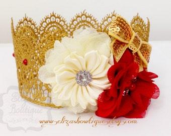 Gold Lace Crown /vintage gold crown