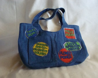 Blue jean hand bag with an attitude!!