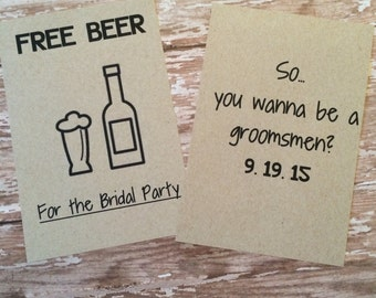 Groomsmen Cards  Printed on kraft paper. Can be customized with names or best man
