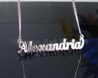 Alexandria name necklaces. stainless steel. next day ship. never tarnishes. shiny silver color