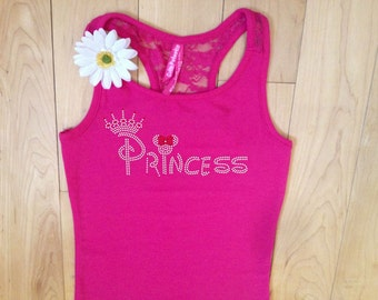 Disney Princess Rhinestone tank . Princess Girls Tank . Disney Princess shirt . Princess Shirt