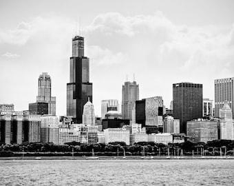 "Chicago Art, Chicago Photography, Chicago Skyline, Urban Wall Art, Sears Willis Tower, Lake Michigan, Chicago Shoreline- ""Chi Town"""