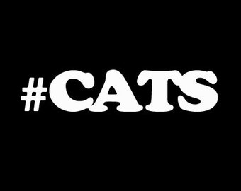 "Hashtag CATS love of cats 6"" Vinyl Decal Window Sticker for Car, Truck, Motorcycle, Laptop, Ipad, Window, Wall, ETC"
