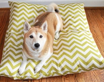 Your Color Choice - Large Dog Bed Cover- Chevron - Washable - Made to order in 2 weeks- Recycle Your Old Pillows