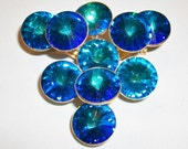 Vintage Blue Rivoli Watermelon Stones  Pin Brooch