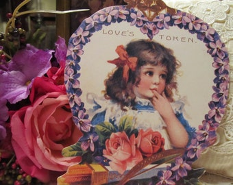 Violets and Girl Victorian Valentine Card