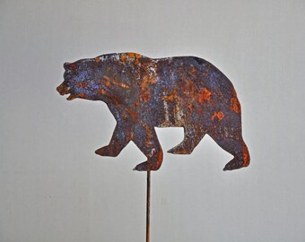 """11"""" x 7 1/2"""" Rusted Metal Bear on a 25 """" or 8"""" stake"""