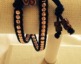 Double wrap vegan bracelet. Rose gold plated beads