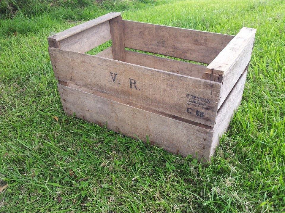 Vintage wooden french apple fruit crates rustic old bushel for Vintage apple boxes