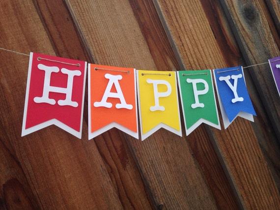Rainbow Birthday Banner, Birthday Banner, Happy 1st Birthday,