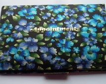 1970s Appointment Book - Vintage Stationery - Blue Floral Fabric Appointment Book - Bright Floral Planner - Retro 2 Week to View Diary