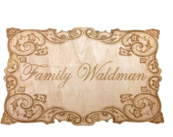 Personalized Family Name Sign Door sign Wood Engraved Sign