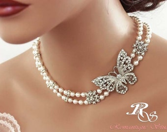 Crystal butterfly necklace bridal necklace Swarovski pearl crystal necklace white ivory cream pearl necklace pearl wedding jewelry 2104