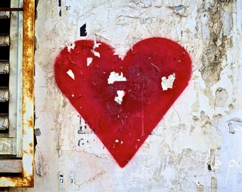 "Wall Art Red Heart Photography Love Passion Graffiti Street Art Picture Romantic Fine Art Print UrbanHome Decor Girl Room City 8x12""/16x24"""