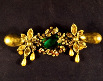 Huge & Very Rare SCHREINER of NEW YORK Faux Emerald-Diamond-Pearl Brooch