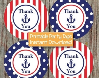 Printable Nautical Thank You Tags Birthday Party Baby Shower Favor Tags Anchor Navy Blue Red Labels INSTANT DOWNLOAD PDF 223