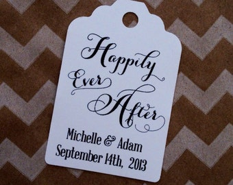 """HAPPILY EVER AFTER Wedding Favor Tags - Bridal Shower, Wedding - 3"""" or 2.25"""" size"""