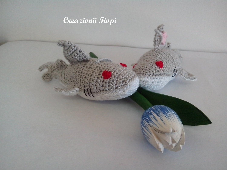 Amigurumi Crochet Shark/ Toys/ Plush/ Keychain/ Pattern 209/