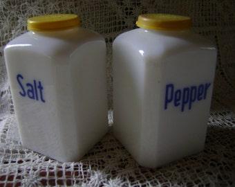 "Rare ""Blue Magic"" Advertising Milk Glass Salt & Pepper Shakers"