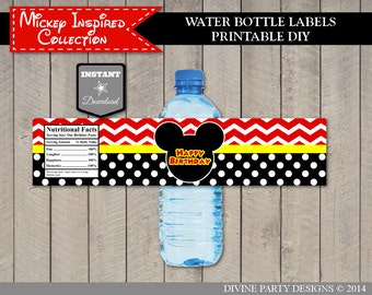 INSTANT DOWNLOAD Mouse Chevron Water Bottle Labels / Printable / Classic Mouse Collection / Item #1548