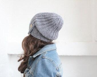 Slouchy beanie, winter hats, Knitted Beanie Hat, Womens Winter hat, mens winter hat, gray winter hat. slouchy knit hat, beanie men