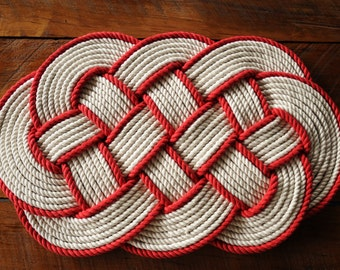 Rope rug smaller bath mat orange cotton rope rug 16 by oyknot for Rope bath mat