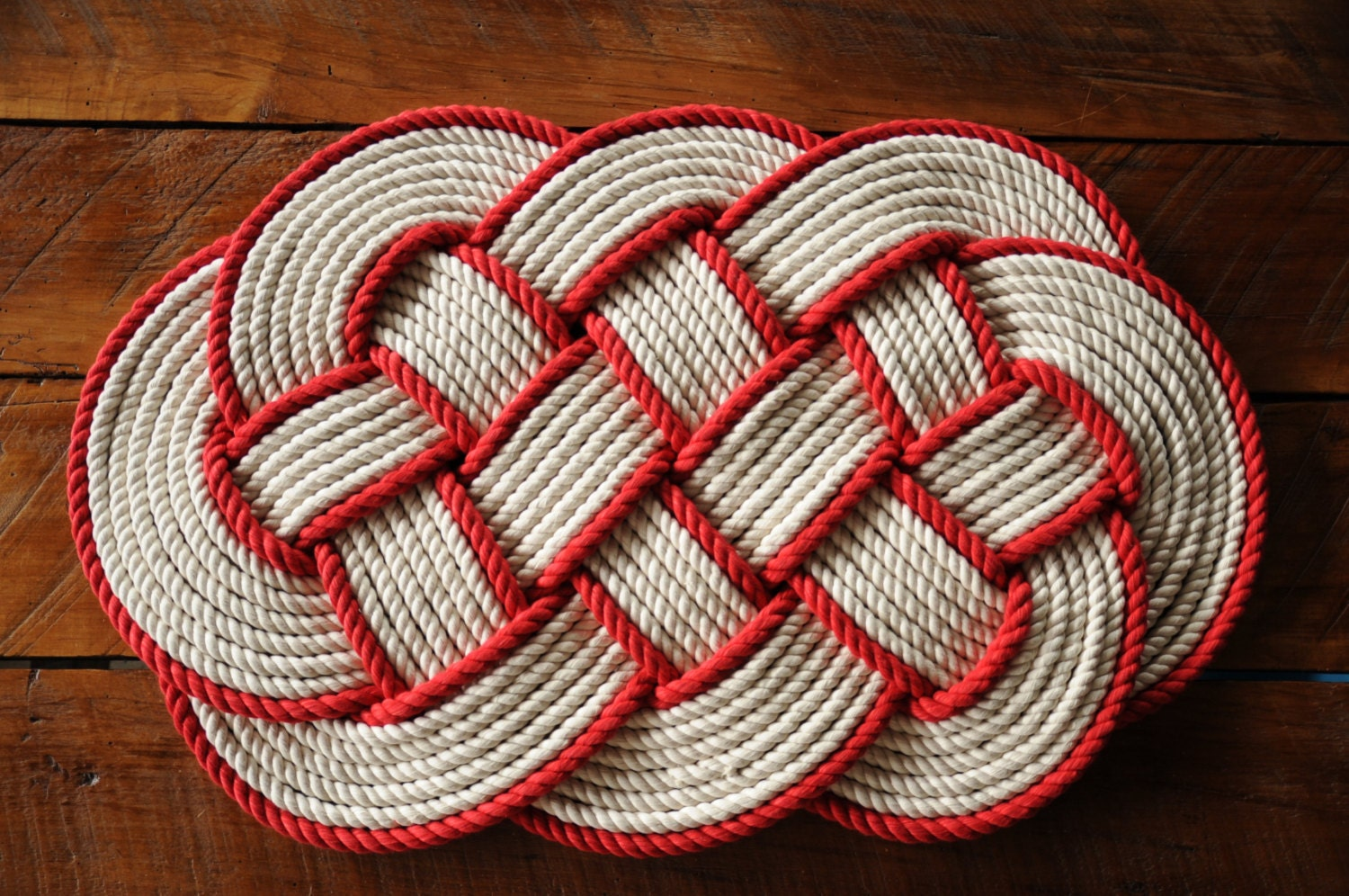 Nautical rope rug cotton bath mat nautical gift rope by oyknot for Rope bath mat