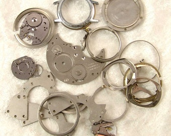 Steampunk Watch Parts, Cases, Platene, Value Lot 1.8oz E1999