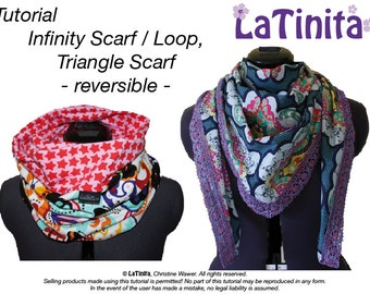 DIY Ebook PDF Tutorial Infinity Scarf, Loop,Triangle Scarf, reversible