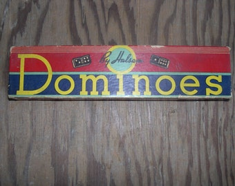a very vintage wooden Double Six Dominoes Game by Halsam from 1950's